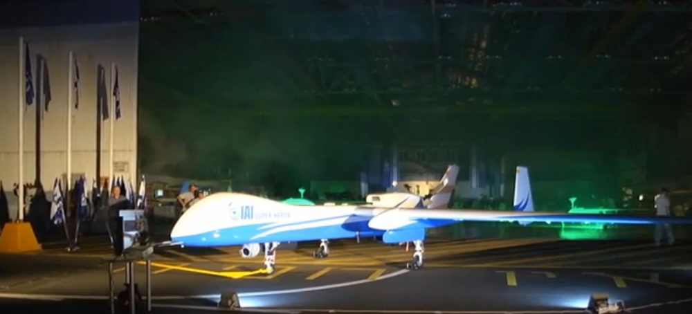 The Israeli Super Heron drone at the Singapore Airshow. Credit: Israel Hayom video screenshot.