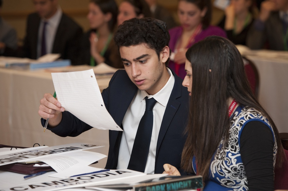 Click photo to download. Caption: A scene from the 24th annual Yeshiva University National Model United Nations (YUNMUN) conference. Credit: Yeshiva University.