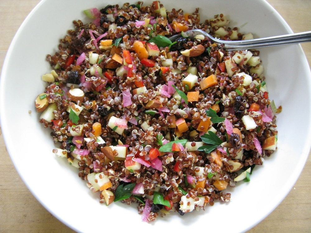 Click photo to download. Caption: Speckled quinoa salad. Credit: Mollie Katzen.