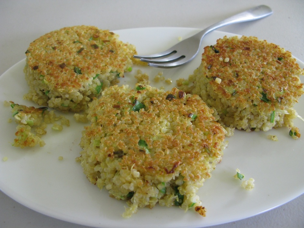 Click photo to download. Caption: Green onion-quinoa cakes. Credit: Mollie Katzen.
