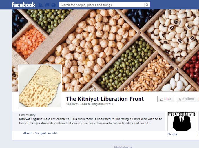 "Click photo to download. Caption: The ""Kitniyot Liberation Front"" Facebook page. Credit: Facebook."