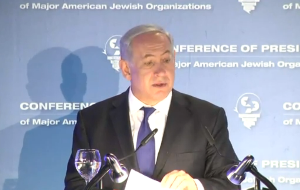Prime Minister Benjamina Netanyahu addresses leaders from the Conference of Presidents of Major American Jewish Organizations on Monday. Credit: Israel Hayom video screenshot.