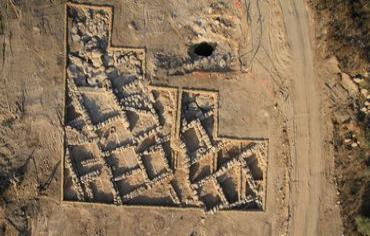 An aerial photo of a 2,300-year-old Hellenistic era village outside of Jerusalem that was unearthed by Israeli archeologists. Credit: Israel Antiquities Authority.