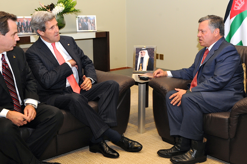 Click photo to download. Caption: U.S. Secretary of State John Kerry, accompanied by U.S. Ambassador to Jordan Stuart E. Jones, meets with King Abdullah II of Jordan before a session of the World Economic Forum in Dead Sea, Jordan, on May 26, 2013. Credit: U.S. State Department.