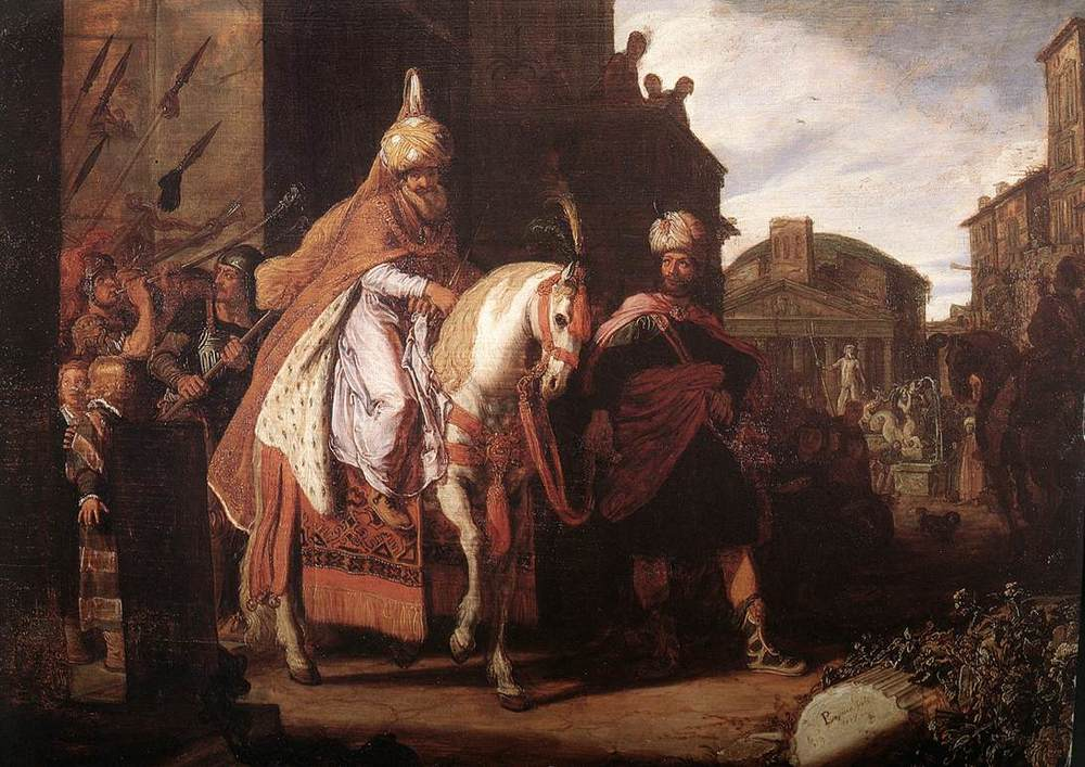 Click photo to download. Caption: A painting of the triumph of Mordechai, who was paraded in royal clothing by around the city of Shushan by Haman, an honor Haman had hoped he—not Mordechai—would receive upon suggesting the idea to King Ahasuerus. Credit: Rembrandt House Museum via Wikimedia Commons.