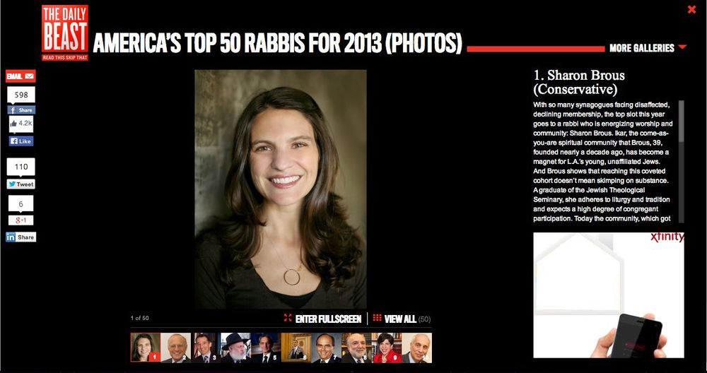 "A screenshot of Newsweek's ""Top 50 Rabbis"" list in 2013."