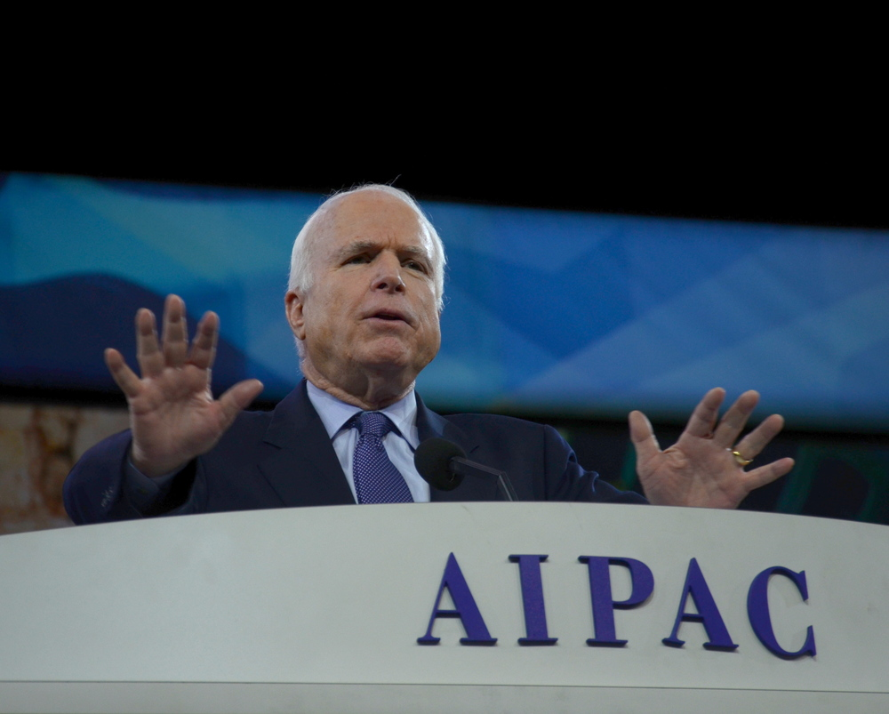 Caption: U.S. Sen. John McCain (R-AZ) speaks at the AIPAC conference on Monday. Credit: Maxine Dovere.