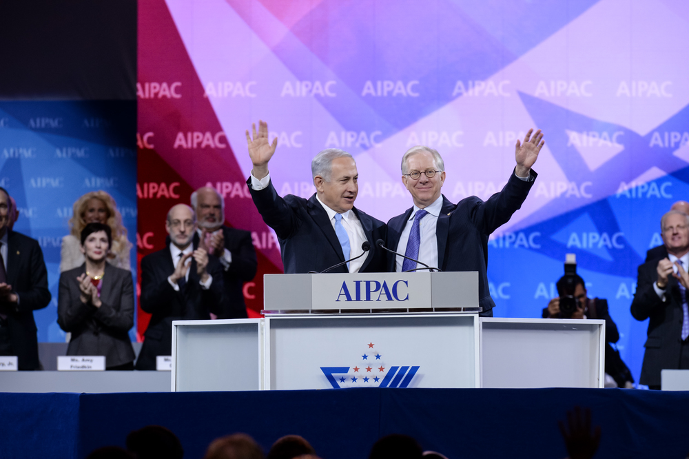 Click photo to download. Caption: Prime Minister Benjamin Netanyahu (left) with outgoing AIPAC President Michael Kassen at the 2014 AIPAC conference on Tuesday morning. Credit: AIPAC.
