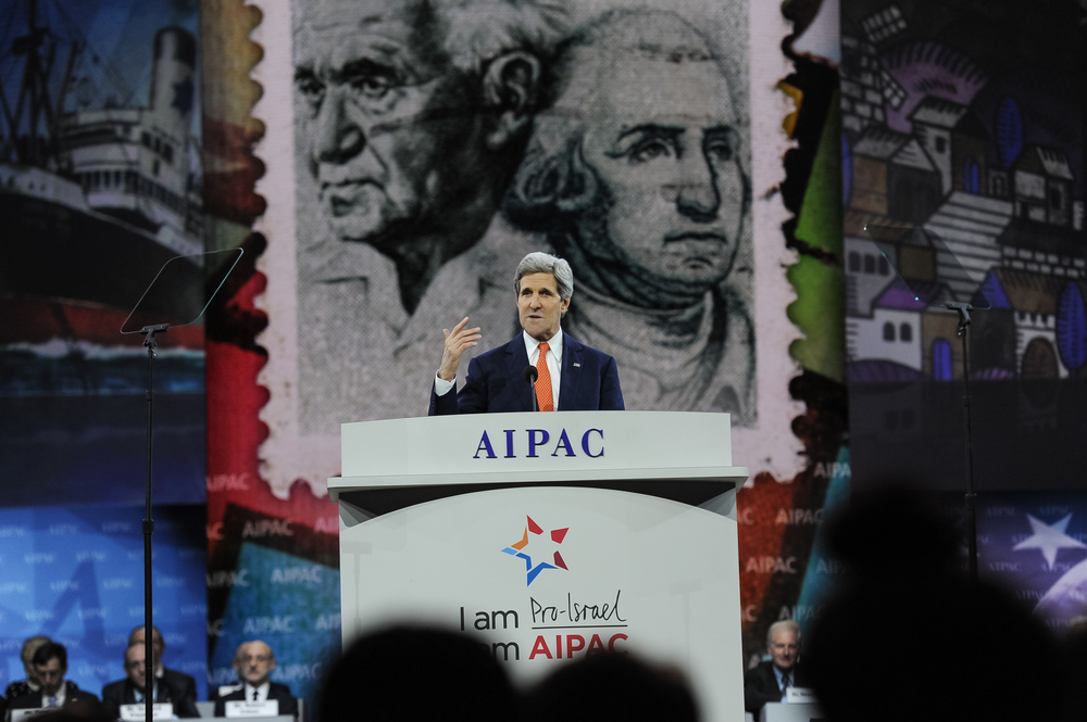 Click photo to download. Caption: Secretary of State John Kerry addresses the American Israel Public Affairs Committee conference on Monday. Credit: AIPAC.