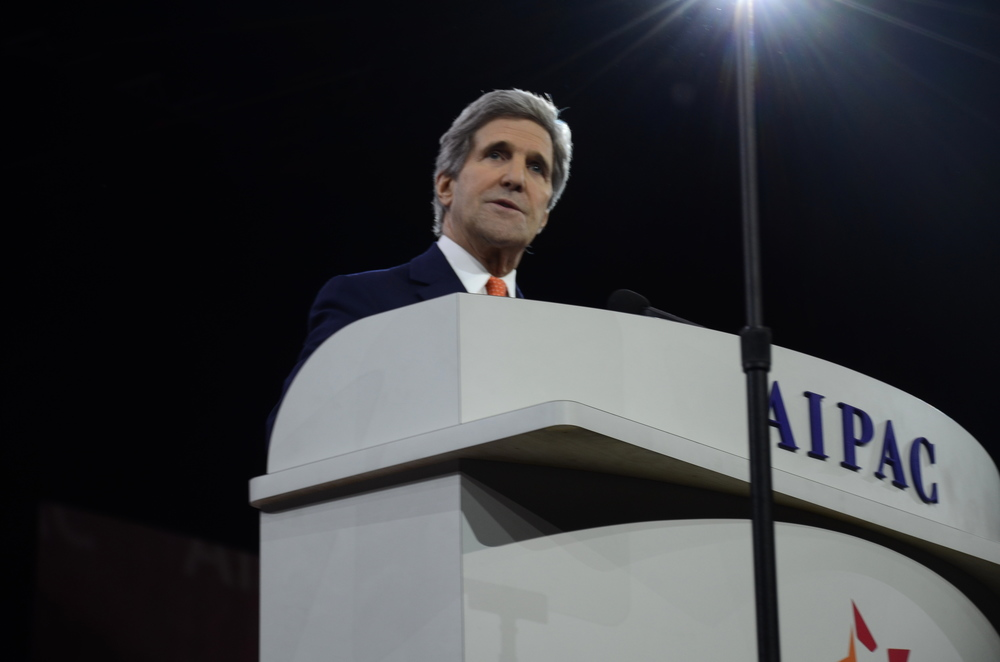 Click photo to download. Caption: Secretary of State John Kerry addresses the American Israel Public Affairs Committee conference on Monday. Credit: Maxine Dovere.