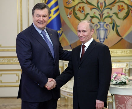 Click photo to download. Caption: Now-ousted Ukrainian President Viktor Yanukovych with Russian President Vladimir Putin in Ukraine in 2011. Credit: Premier.gov.ru.