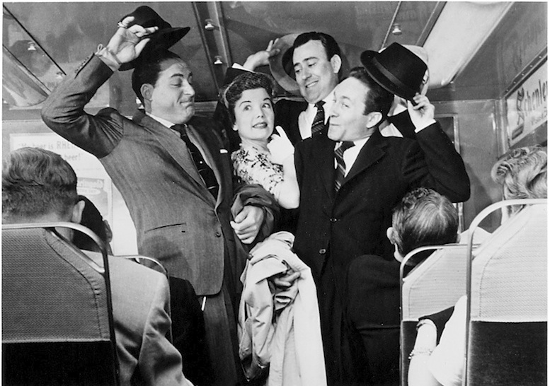 "Click photo to download. Caption: From left to right, Sid Caesar, Nanette Fabray, Carl Reiner, and Howard Morris as ""The Commuters"" on the 1950s television series ""Caesar's Hour."" Credit: Courtesy Eddy Friedfeld."