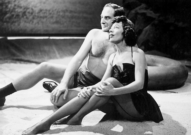 "Click photo to download. Caption: Sid Caesar and Imogene Coca in the famous beach scene in ""From Here to Obscurity from the 1950s television series ""Your Show of Shows."" Credit: Courtesy Eddy Friedfeld."