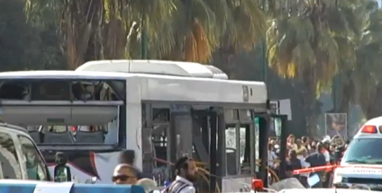 The scene from a November 2012 Tel Aviv bus bombing. Mohammed Mafarja on Monday was sentenced to 25 years in prison for placing the bomb. Credit: Israel Hayom video screenshot.