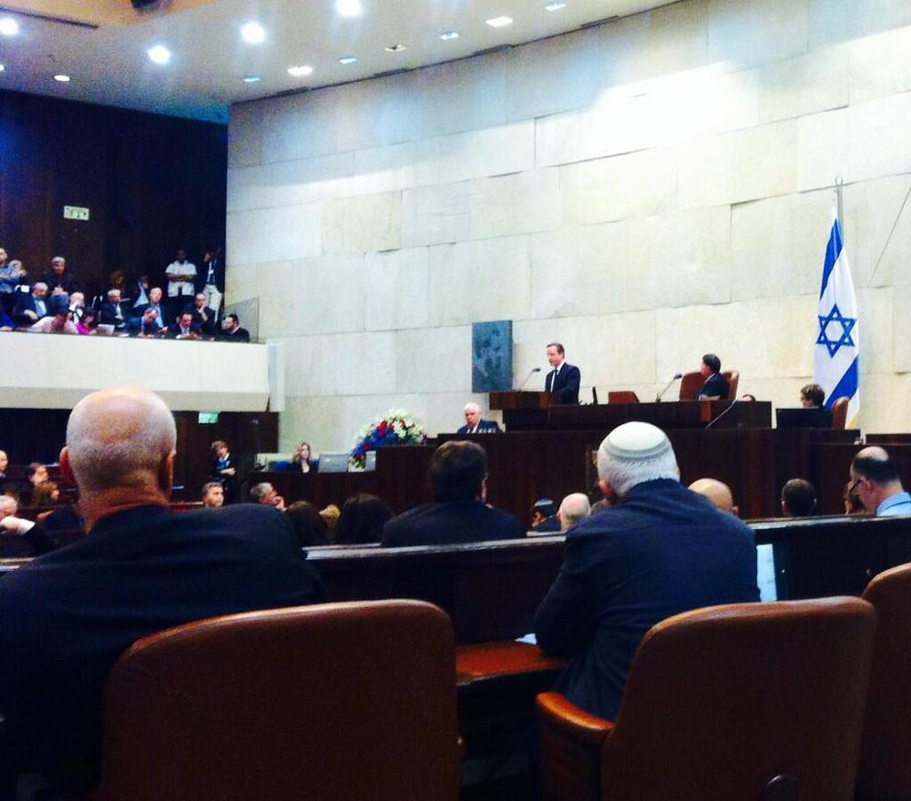 British Prime Minister David Cameron addresses the Knesset on Wednesday. Credit: British Prime Minister's Office via Twitter.