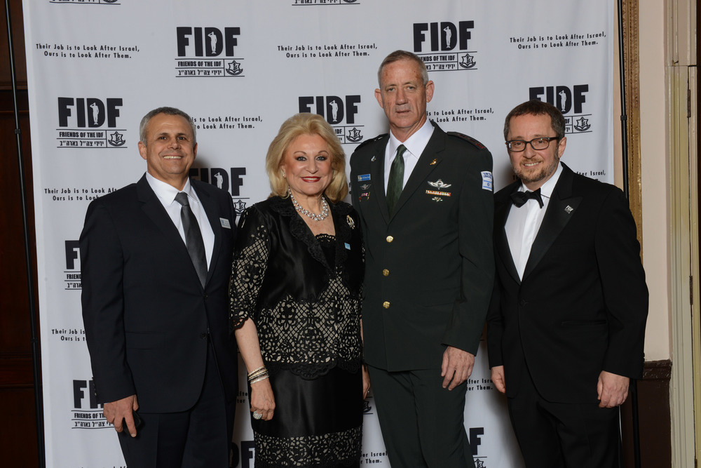 From left to right at Tuesday's Friends of the Israel Defense Forces (FIDF) New York gala: FIDF National Director and CEO Maj. Gen. (Res.) Yitzhak (Jerry) Gershon, FIDF National Chairman Nily Falic, IDF Chief of Staff Lt. Gen. Benjamin Gantz, and FIDF Chairman Emeritus Arthur Stark. Credit: Shahar Azran.