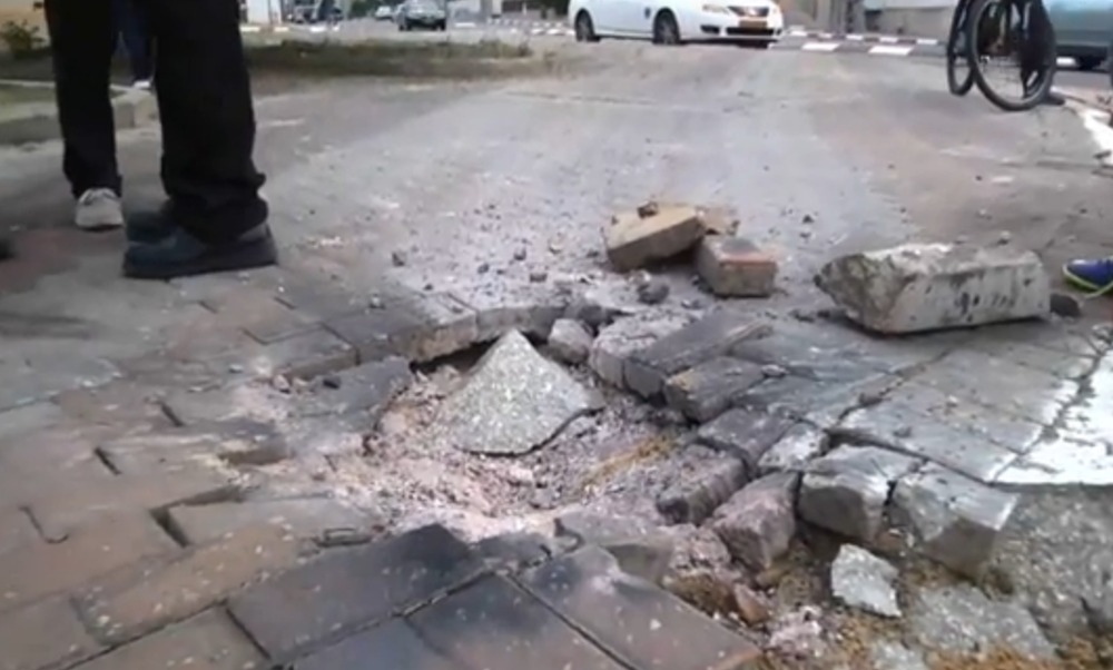 Damage in the southern Israeli town of Sderot resulting from Wednesday's rockets fired from Gaza. Credit: Israel Hayom video screenshot.