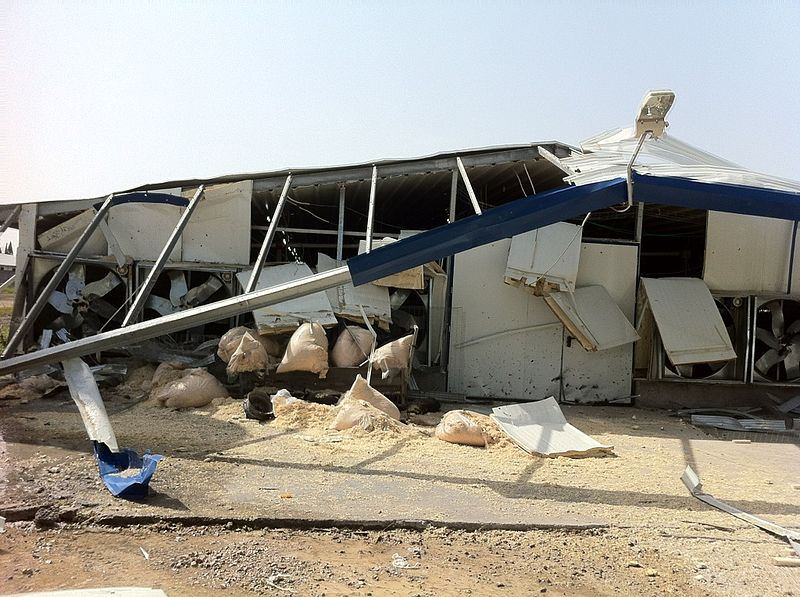 A destroyed farm house hit by a rocket from Gaza in southern Israel in 2012. This week a new barrage of rockets from the Hamas-controlled region hit Israel. Credit: Wikimedia Commons.