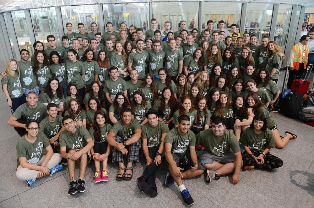 A group of 125 future IDF soldiers at John F. Kennedy Airport in New York in August 2013, before they depart for their Nefesh B'Nefesh aliyah flight. Credit: Shahar Azran.