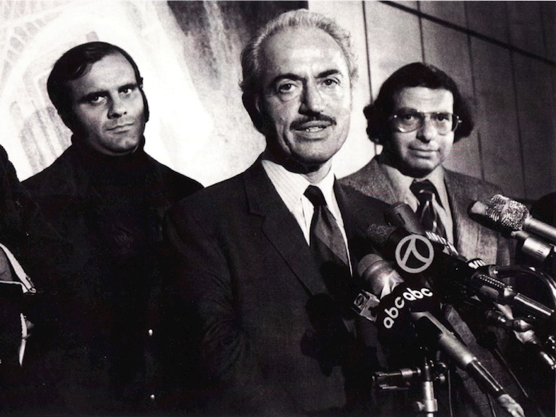 Click photo to download. Caption: Marvin Miller, the pioneering executive director of the Major League Baseball Players Association, speaks to the media. Credit: ThanksMarvin.com.