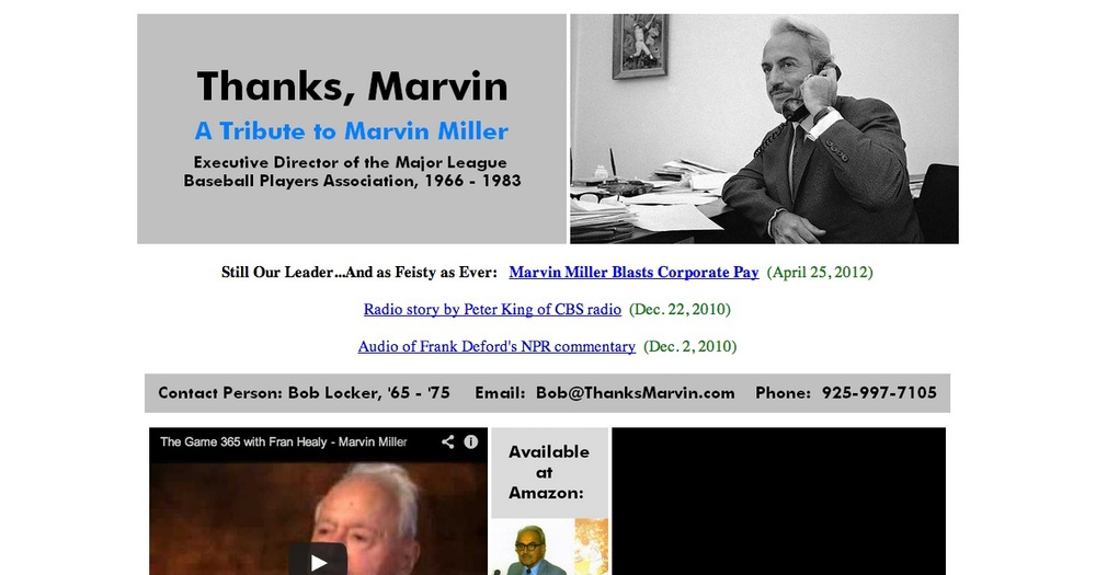 Click photo to download. Caption: The homepage of ThanksMarvin.com, former major league pitcher Bob Locker's tribute website to Marvin Miller, the pioneering executive director of the Major League Baseball Players Association. Credit: ThanksMarvin.com.