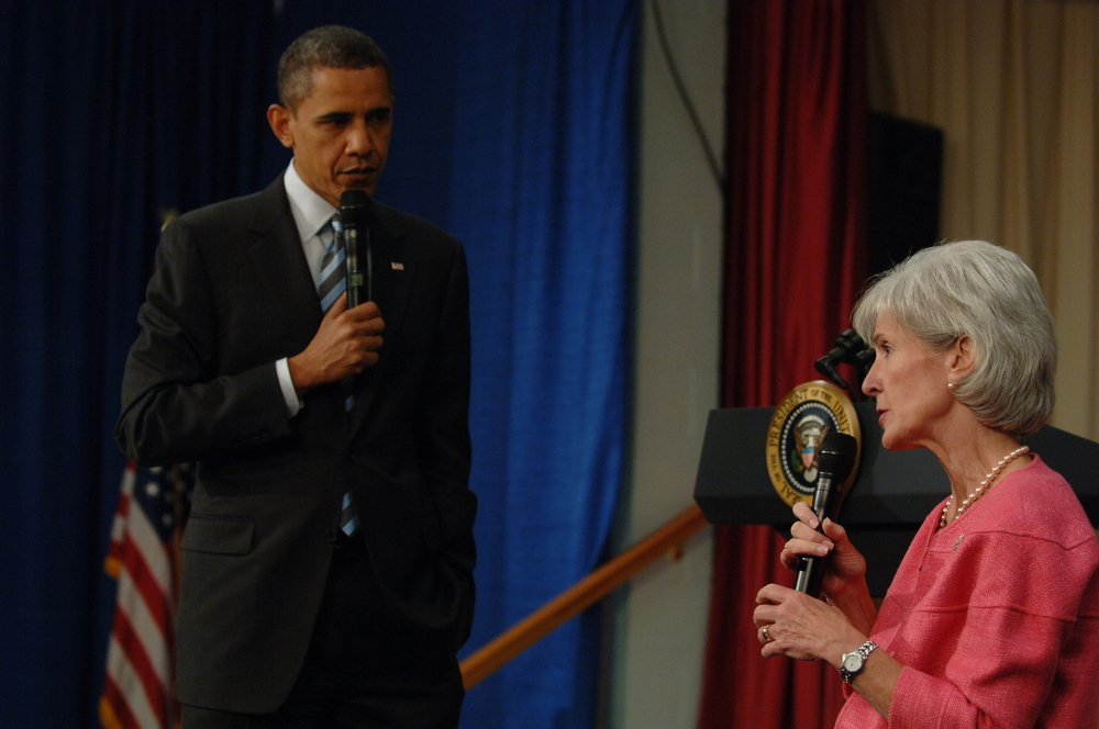 Click photo to download. Caption: In June 2010, President Barack Obama and Secretary of Health and Human Services Kathleen Sebelius lead a question-and-answer session to address issues relating to the Affordable Care Act. Credit: HHS photo by Chris Smith.