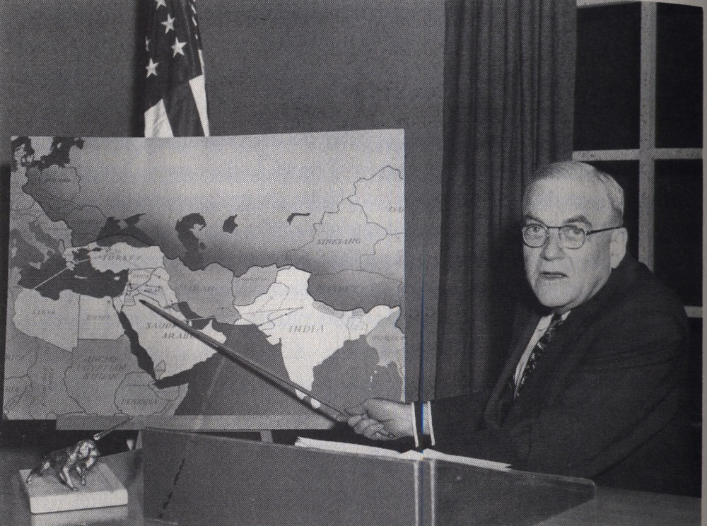 "Click photo to download. Caption: Pictured in June 1953 is Secretary of State John Foster Dulles delivering a Mideast policy speech ghostwritten by Henry A. Byroade. In the speech, Dulles said the U.S. would not become ""a backer of expansionist Zionism"" and proposed that Jerusalem be ruled by ""the world religious community,"" and not be Israel's capital. Credit: Courtesy of the David S. Wyman Institute for Holocaust Studies."