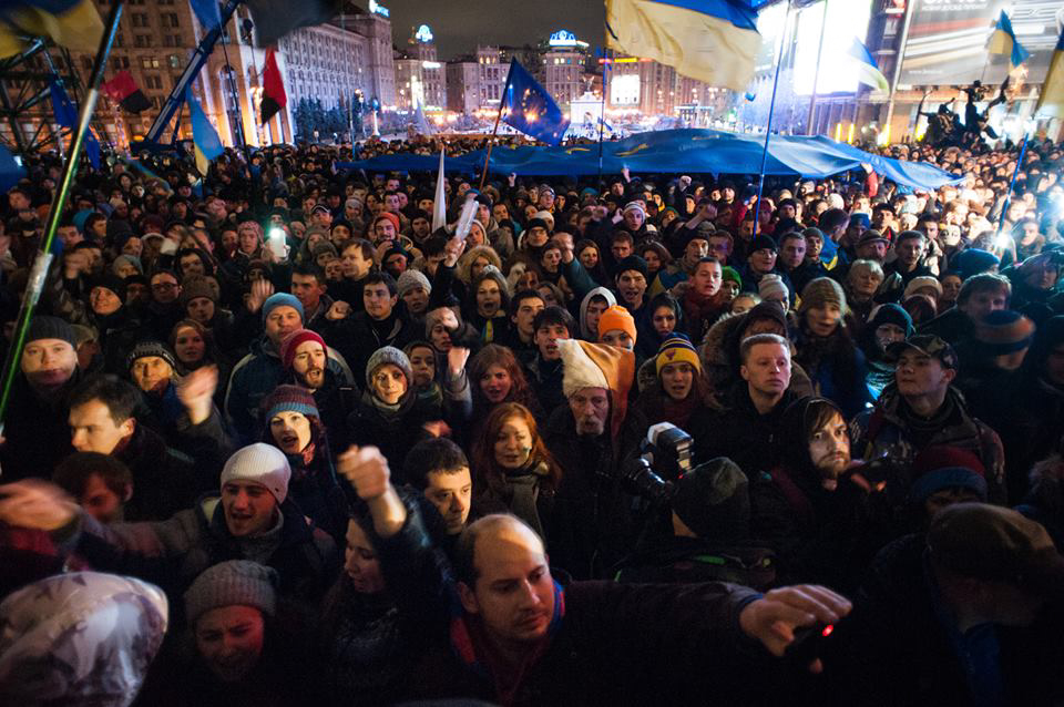 "Click photo to download. Caption: A  ""Euromaidan"" protest on Nov. 27, 2013 in Kiev, Ukraine. While the crisis in Ukraine continues to unfold, Jews in the disputed region of Crimea have been caught in a battle over nationalism. Credit: Mstyslav Chernov via Wikimedia Commons."