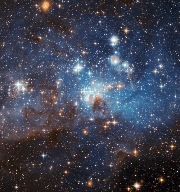 The LH 95 stellar nursery in the Large Magellanic Cloud. Credit: NASA via Wikimedia Commons.