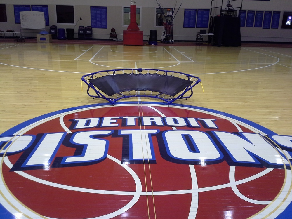 Click photo to download. Caption: The Zone190 on the court of the Detroit Pistons, the first National Basketball Association team to buy the product. Credit: Zone190.