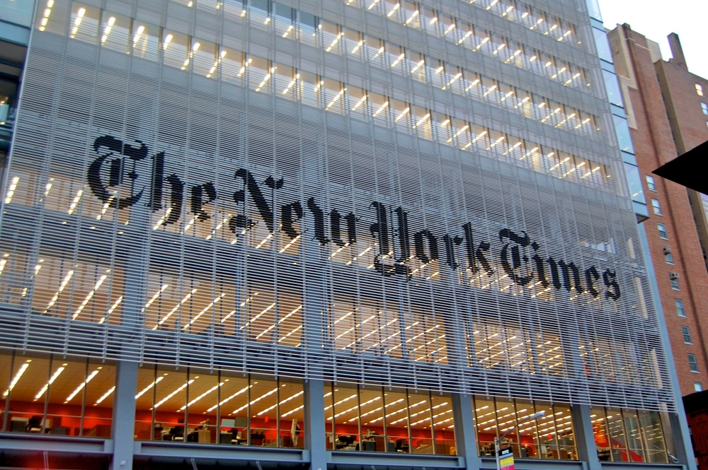 Click photo to download. Caption: The New York Times headquarters in Manhattan. Credit: Haxorjoe via Wikimedia Commons.