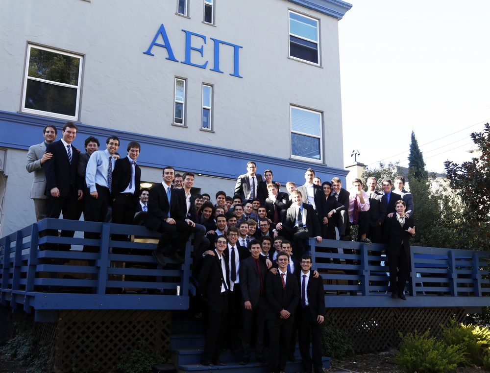 Click photo to download. Caption: The AEPi fraternity at University of California, Berkeley at initiation last fall. Credit: AEPi.