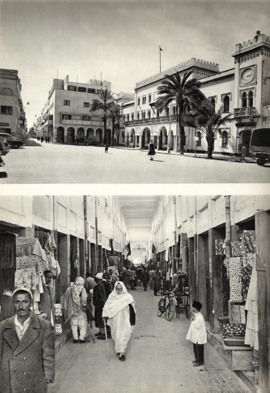 "Click photo to download. Caption: Top: The ""Piazza Muncipio"" quarter of Benghazi, Libya, in the 1920s, where many Jews lived. Bottom: The ""Covered Shuk"" in Benghazi in the 1930s, where many Jews owned shops. Credit: Courtesy of Prof. Maurice Roumani."