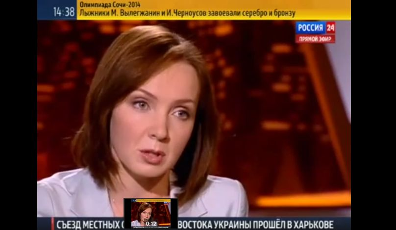 Evelina Zakamskaya, an anchor at a Russian state-funded television channel, said that Jews brought the Holocaust on themselves. Credit: YouTube screenshot.