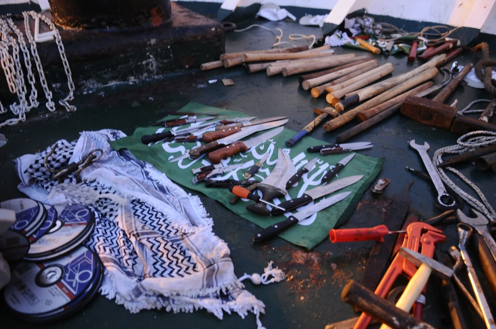 Click photo to download. Caption: Knives, wrenches, and wooden clubs used to attack Israel Defense Forces soldiers when they boarded the Mavi Marmara ship on May 31, 2010. Israeli clashes with Turkish militants on the ship, resulting in nine Turkish deaths, led to the deterioration of Israel-Turkey relations. Credit: Israel Defense Forces.