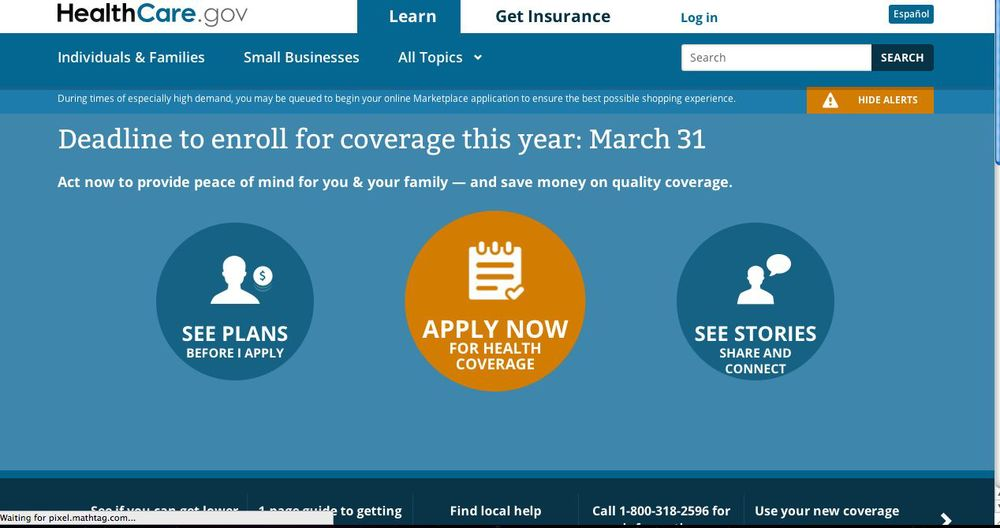 The first annual sign-up deadline for Obamacare passes Monday at midnight. Credit: Screenshot of healthcare.gov.