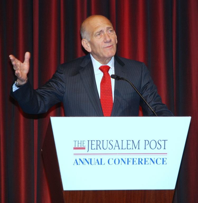 Former Israeli prime minister Ehud Olmert speaks at the 2012 Jerusalem Post Conference in New York. Credit: Maxine Dovere.