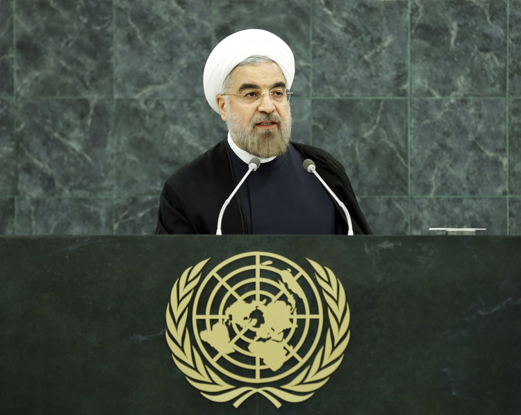 Click photo to download. Caption: Iranian President Hassan Rouhani speaks at the U.N. General Assembly in September 2013. Credit: U.N. Photo/Sarah Fretwell.
