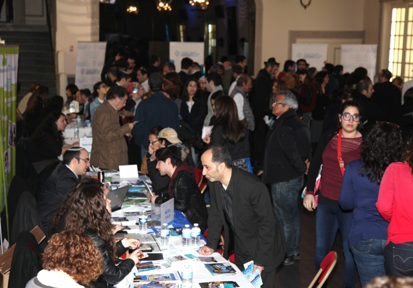 Click photo to download. Caption: An aliyah information fair in central Paris on March 30. Credit: Alain Azria.