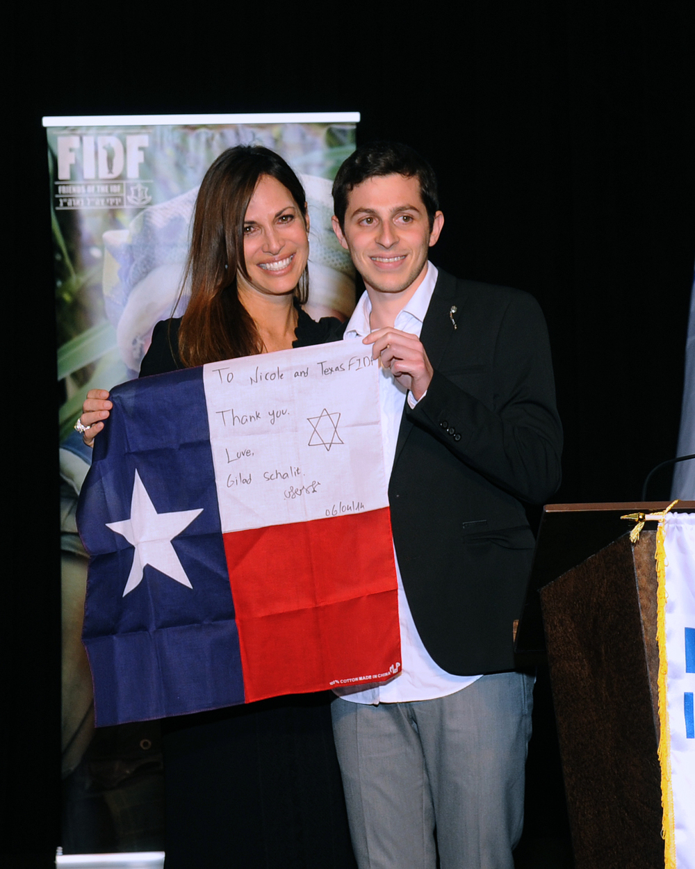 National FIDF Board of Directors member and Texas Chapter Chair Nicole Lowenstein with former Hamas captive Gilad Shalit at the April 6 FIDF gala in Houston. Credit: Alan Ross.