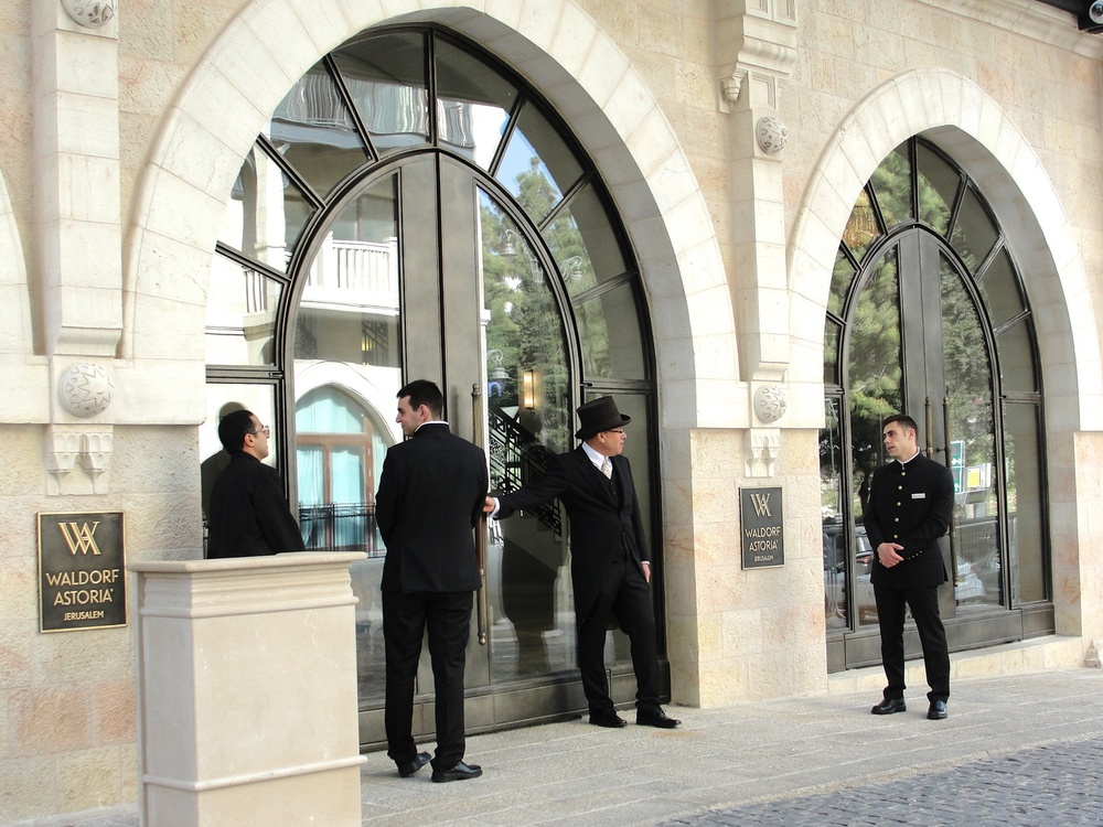 Click photo to download. Caption: Outside the new  Waldorf Astoria Jerusalem  hotel. Credit: Judy Lash Balint.