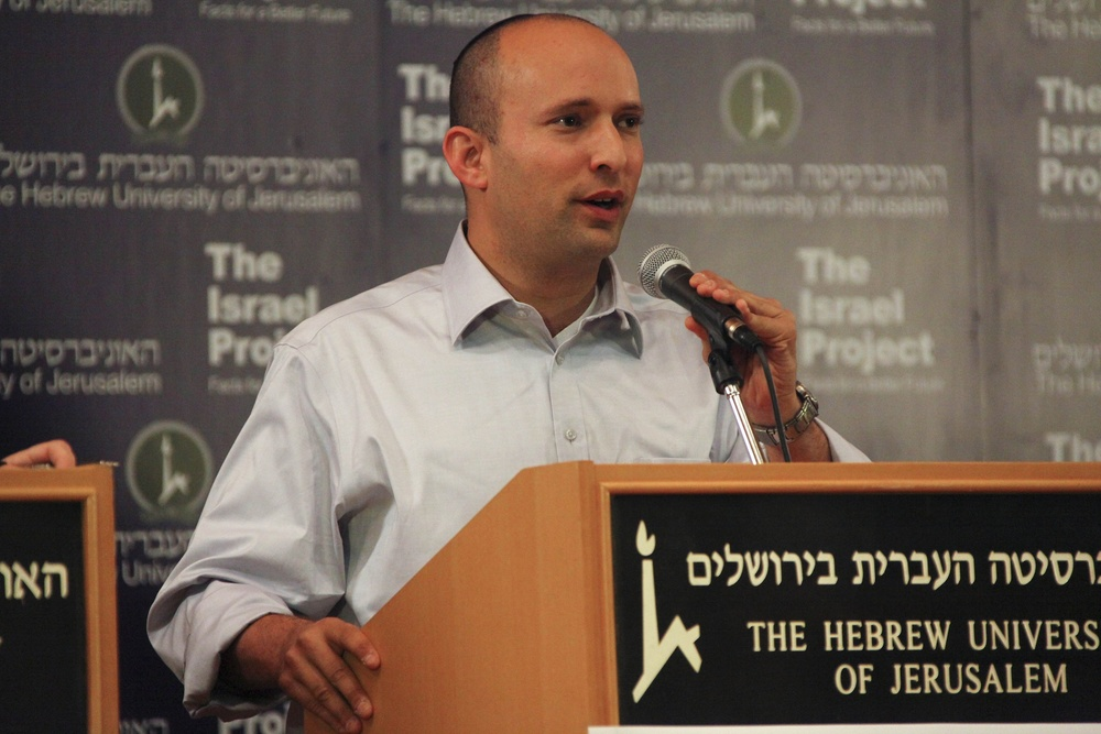 Click photo to download. Caption: Naftali Bennett, leader of Israel's Jewish Home party, at a foreign-policy debate organized by The Israel Project on Jan. 8, 2013, two weeks before the 2013 Israeli legislative election in which the Jewish Home home 12 seats in the Knesset. Credit: Mati Milstein/The Israel Project.