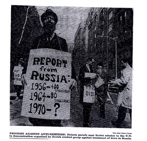 Click photo to download. Caption: The photo and caption from the May 2  New York Times  article on the May 1, 1964 rally that launched the Soviet Jewry movement. Credit: Courtesy of The David S. Wyman Institute for Holocaust Studies.