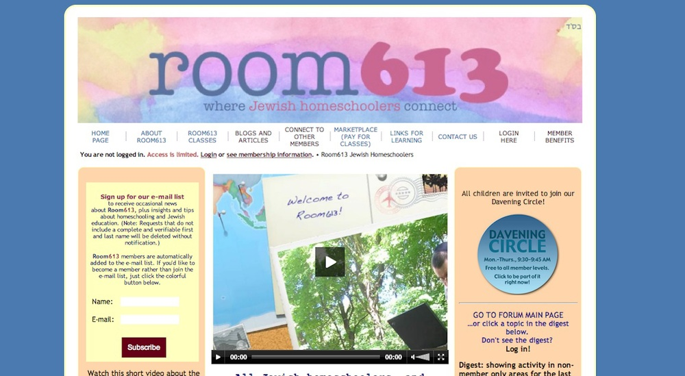 Click photo to download. Caption: The homepage of the Room613 website. Credit: Room613.
