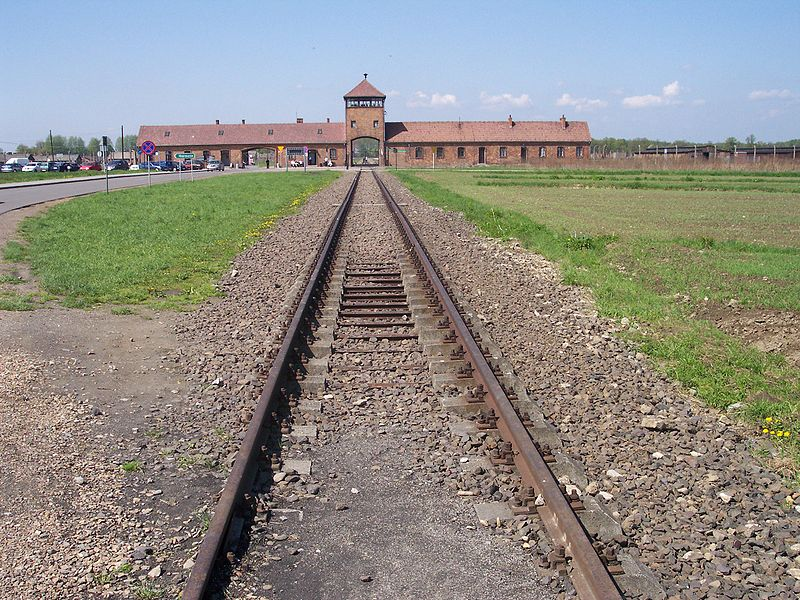 The rail leading to the German Nazi death camp Auschwitz II (Birkenau). Credit: Wikimedia Commons.