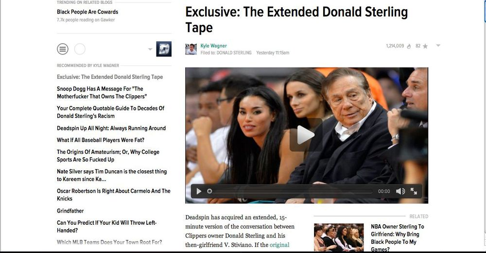 "A screenshot of the Deadspin.com page displaying the newly released tape of Los Angeles Clippers owner Donald Sterling saying that in Israel, ""the blacks are just treated like dogs."""