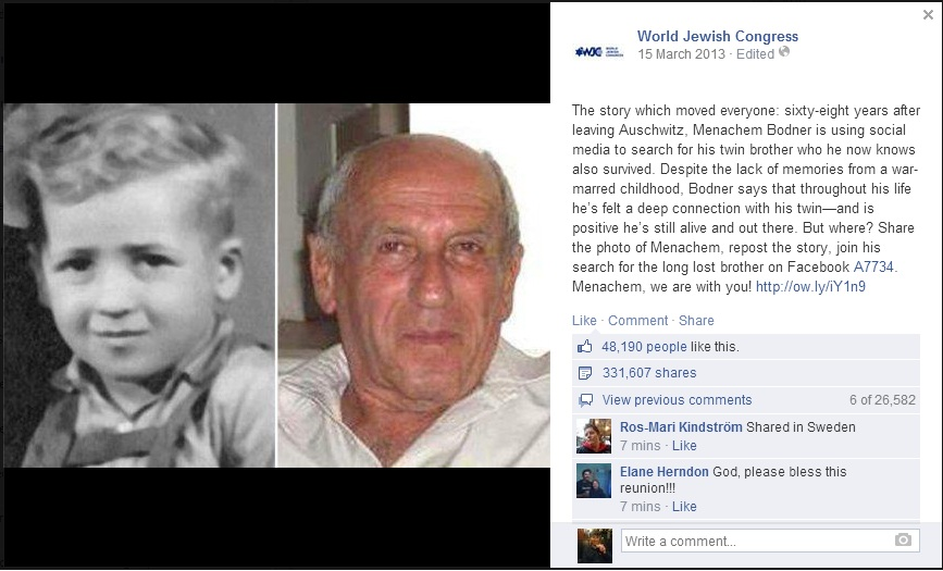 Screenshot of the World Jewish Congress's Facebook page on Bodner.