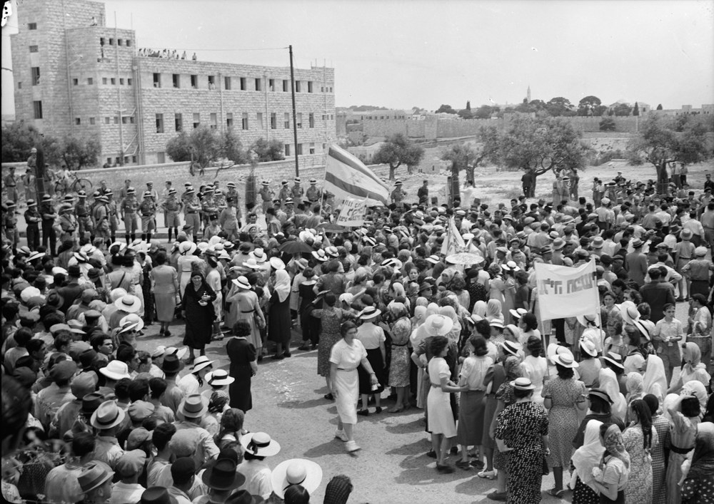 Click photo to download. Caption: A Jewish demonstration against the British White Paper in Jerusalem in 1939. Credit: Library of Congress/Matson Photo Service via Wikimedia Commons.