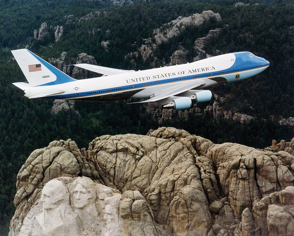 "America's Air Force One flies over Mt. Rushmore. The Israeli government on Sunday approved a committee's recommendation to purchase a plane that will serve as Israel's ""Air Force One."" Credit: U.S. Air Force."