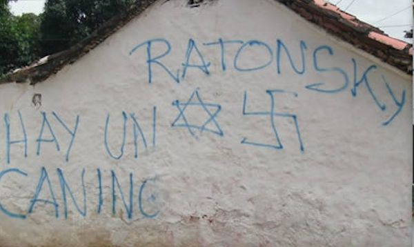 Anti-Semitic graffiti in Venezuela. Credit: World Jewish Congress.